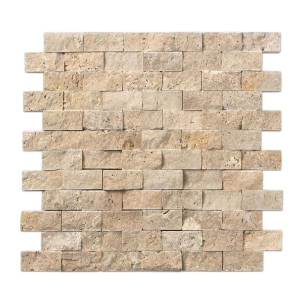 20012362 beige rustic splitface travertine mosaics 1x2 top profile www.thulahome.com