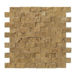 20012366 noce splitface travertine mosaics 1x2 top profile www.thulahome.com