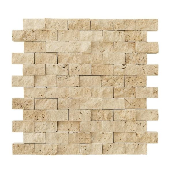 20012399 light beige splitface travertine mosaics 1x2 top profle www.thulahome.com