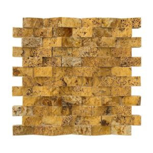 20012400 gold pyramid splitface travertine mosaics 1x2 top angle www.thulahome.com