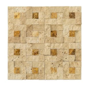 20012409 beige splitface travertine mosaics 1x2 top profile www.thulahome.com