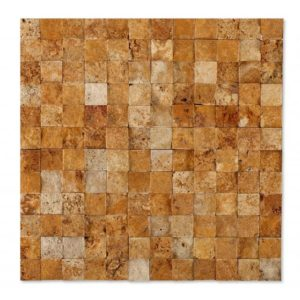 20012410 3d gold splitface travertine mosaics 1x1 top profile www.thulahome.com