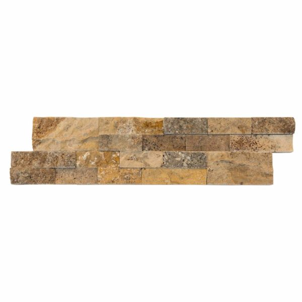 split face Scabos travertine stacked stone ledger panel