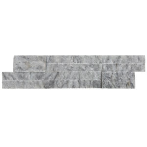 split face Carrara gray marble stacked stone ledger panel