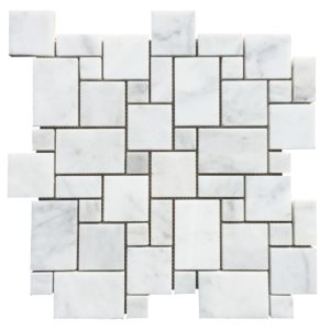 20012468-carrara-white-polished-marble-mosaics-mini-pattern-set-top-profile-view-www.thulahome.com