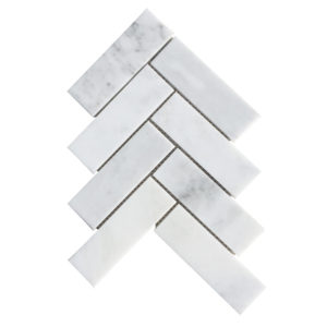 Carrara White Polished Marble Herringbone Mosaics