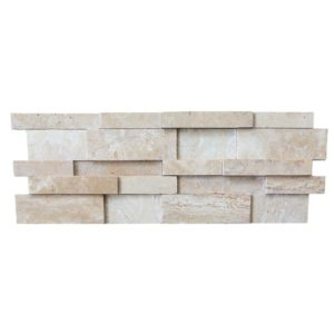 beige travertine stacked stone ledger panel