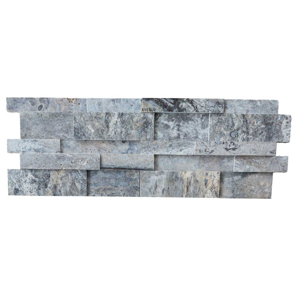 silver travertine stacked stone ledger panel