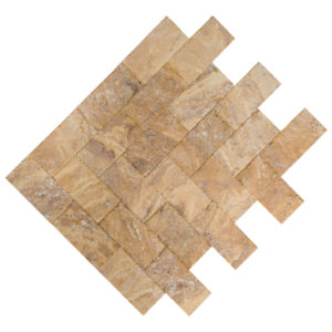 20020072-Meandros Gold Yellow Travertine Pavers - Honed and Chiseled multi top view - www.thulahome.com