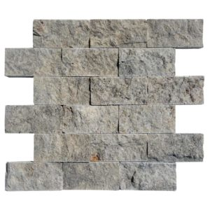 20012402 -Silver Travertine Mosaics - Splitface - 2x4-Single sheet2 - www.thulahome.com