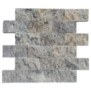 20012402 -Silver Travertine Mosaics - Splitface - 2x4-Single sheet3 - www.thulahome.com