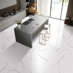 1-ANK179-AKD1-AKD4-Calacatta White Glazed Porcelain Tile Kitchen view