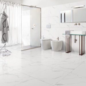 KLA3-ANK248-Classic Carrara Glazed Porcelain Tile-24x48-Full Lappato-bathroom-view