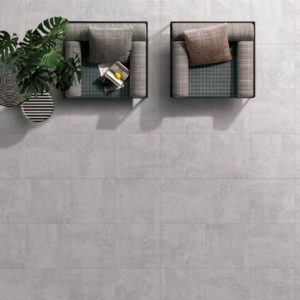RIV14-ANK165-Riva Glazed Porcelain Tile - Matte-Light Grey-two sofa top view
