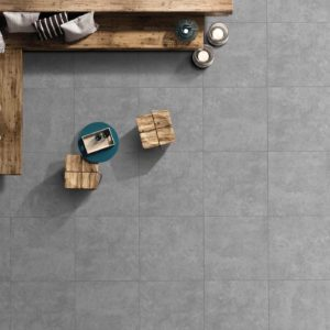 RIV15-ANK168-Riva Glazed Porcelain Tile - Matte-Grey 24X24 - top wooden sofa view