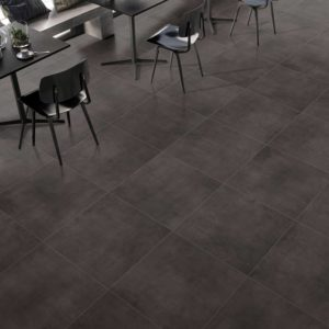 TUV6-ANK171-Tuval Glazed Porcelain Tile 24x24 Satin Anthracite chairs and kithcen