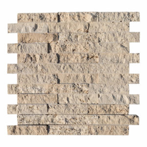 20012562-Light-Beige-Splitface-Travertine-Mosaic-1x4-top-piece-view-2S3A3634